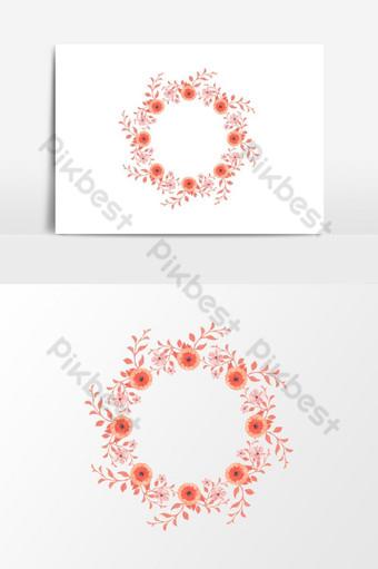 Hermoso marco de guirnalda floral acuarela para elemento gráfico de vector gráfico de boda Elementos graficos Modelo PSD