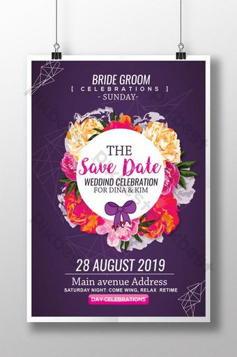 plantilla de cartel de invitación de boda floral púrpura Modelo PSD
