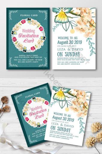 Cartes d'invitation de mariage floral double face Modèle PSD