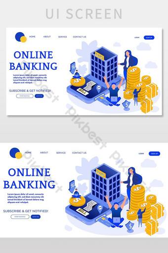 pantalla de interfaz de usuario de ilustración de página de destino isométrica de vector de banca en línea UI Modelo AI