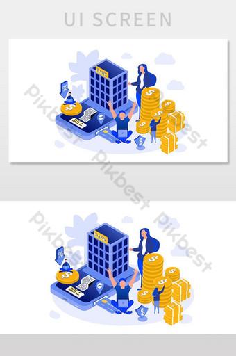 pantalla de interfaz de usuario de ilustración de vector isométrica de vector de banca en línea UI Modelo AI