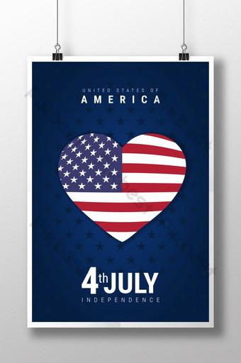 رمز القلب مع علم أمريكا مع ملصق يوم الاستقلال الأمريكي قالب PSD