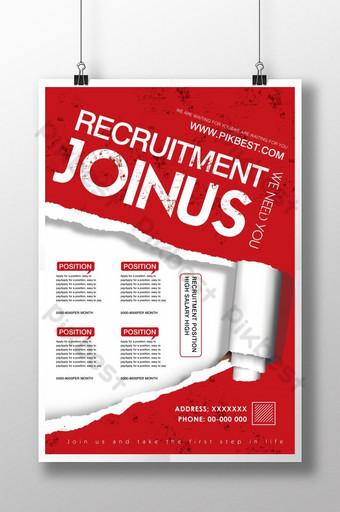 Conception de dépliant d'affiche d'information de recrutement rouge simple Modèle PSD