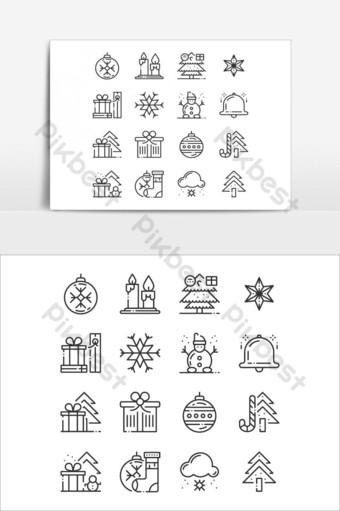 عيد ميلاد سعيد وسنة جديدة سعيدة رمز فن الخط رمادي خطوط رقيقة الرموز ناقلات عنصر الرسم صور PNG قالب EPS
