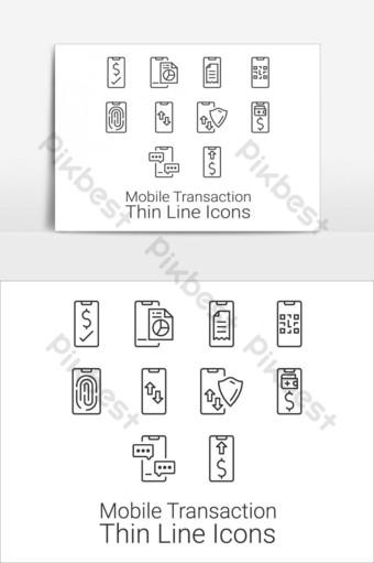 Conjunto de iconos de transacciones y actividades de teléfonos inteligentes elemento gráfico vectorial Elementos graficos Modelo EPS