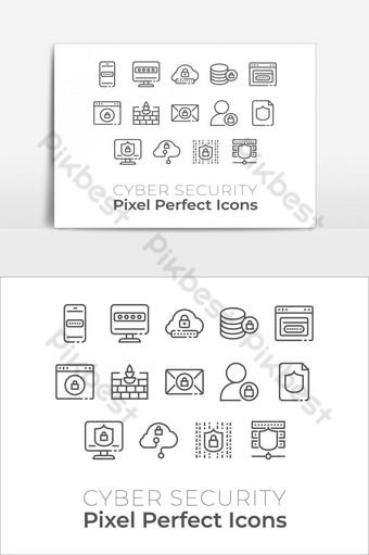 Conjunto de iconos de tecnología de seguridad cibernética elemento gráfico de vector de icono perfecto de píxeles Elementos graficos Modelo EPS