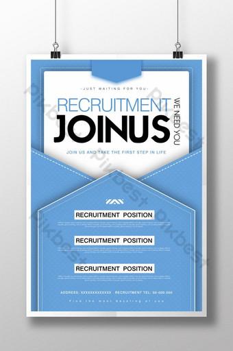 Conception de flyer d'affiche d'information de recrutement enveloppe bleue Modèle PSD