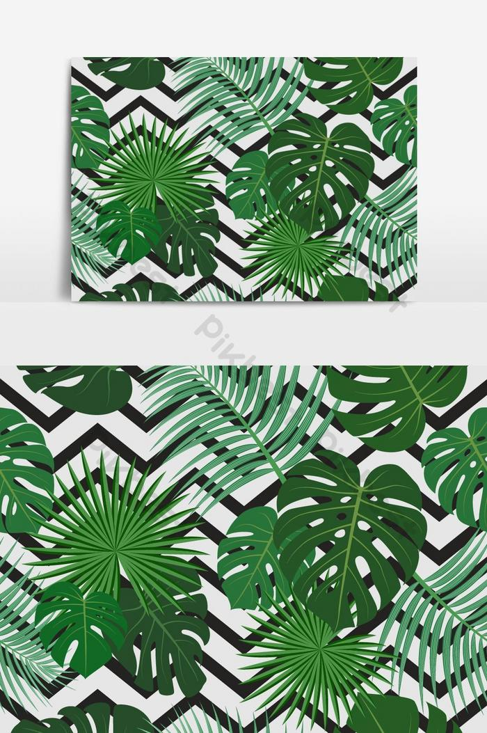 seamless pattern of exotic jungle tropical palm leaves on black vector graphic element