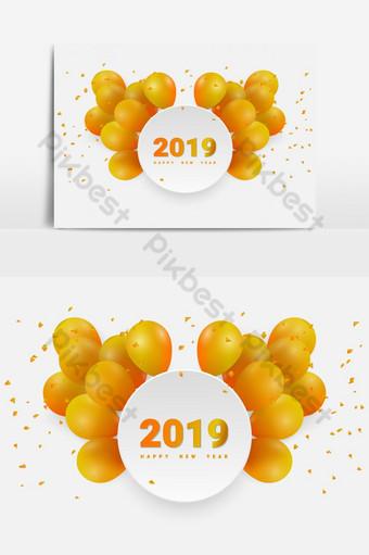 design de balões de papel de círculo de banco para feliz ano novo ou elemento gráfico vetorial de feliz aniversário Elementos gráficos Modelo EPS