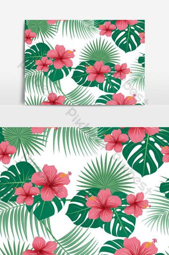 熱帶花卉和葉子矢量圖形元素的無縫模式 元素 模板 AI