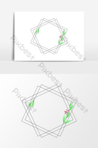 marco geométrico acuarela simple para elemento gráfico de vector de decoración de boda Elementos graficos Modelo PSD