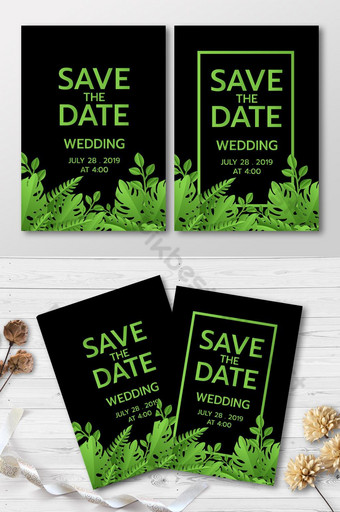 Cartes d'invitation tropicales de fête d'été verte Modèle AI