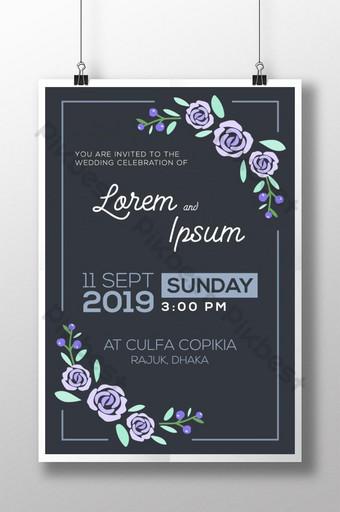 diseño de plantilla de invitación de boda moderna floral Modelo AI