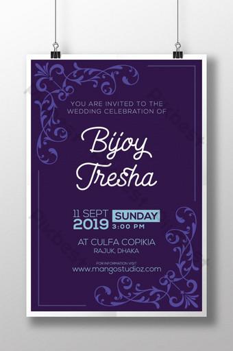 Plantilla de diseño de cartel de invitación de boda moderna creativa para pareja de amor Modelo AI