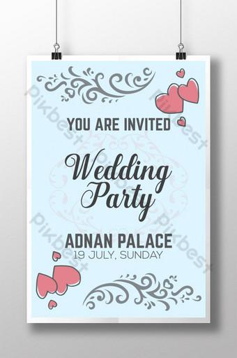 Conception de modèle d'affiche d'invitation de fête de mariage pour la cérémonie de mariage Modèle AI