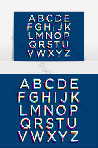 elemento gráfico de vector de tipografía colorida art deco Elementos graficos Modelo EPS