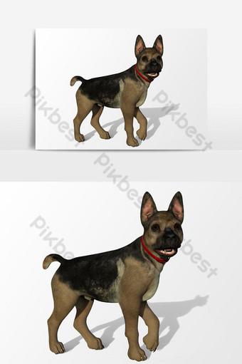عرض ثلاثي الأبعاد لعنصر رسم متجه للكلب صور PNG قالب PSD