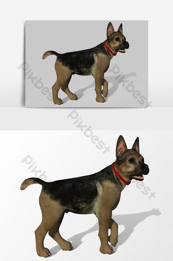 Representación 3D de perro creado mediante el uso de un elemento gráfico vectorial de conjunto de herramientas de licuadora Elementos graficos Modelo PSD