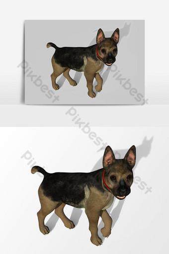عرض ثلاثي الأبعاد للكلب تم إنشاؤه باستخدام عنصر رسومي متجه صغير لأداة خلاط صور PNG قالب PSD