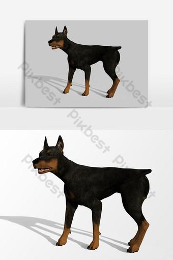 عرض ثلاثي الأبعاد لعنصر رسم متجه ينبح الكلب صور PNG قالب PSD