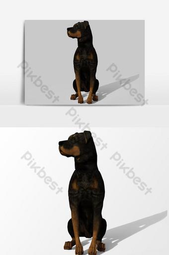 عرض ثلاثي الأبعاد لعنصر رسومي متجه يجلس الكلب صور PNG قالب PSD