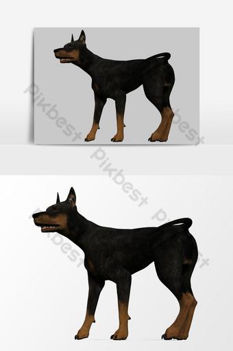 تقديم ثلاثي الأبعاد لعنصر رسم متجه جانب الكلب صور PNG قالب PSD