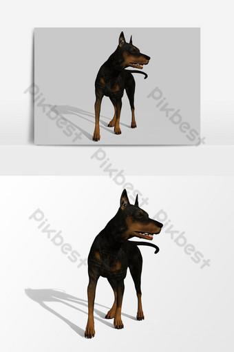 عرض ثلاثي الأبعاد للكلب يستدير حول عنصر الرسم المتجه صور PNG قالب PSD