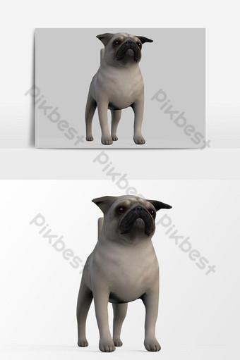 عرض ثلاثي الأبعاد للكلب تم إنشاؤه باستخدام عنصر رسومي متجه لأداة الخلاط البلدغ الفرنسي صور PNG قالب PSD