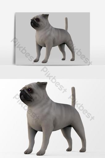 تقديم 3d كلب البلدغ الفرنسي عنصر الرسم صور PNG قالب PSD