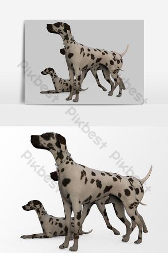 Representación 3D de perros creados mediante el uso de un elemento gráfico vectorial de la herramienta licuadora Elementos graficos Modelo PSD
