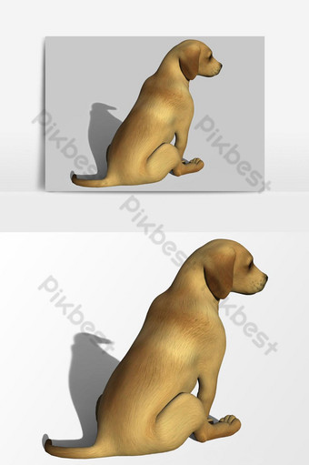 عرض ثلاثي الأبعاد لعنصر رسومي متجه ظهر الكلب صور PNG قالب PSD