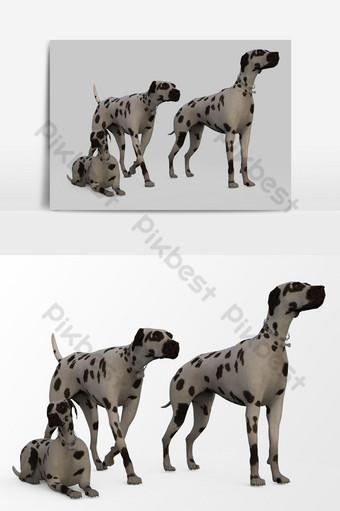عرض ثلاثي الأبعاد للكلب تم إنشاؤه باستخدام خلاط صور PNG قالب PSD