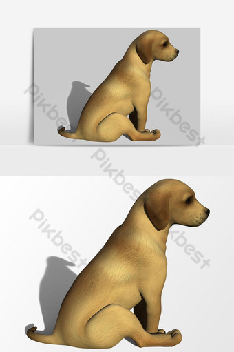 عرض ثلاثي الأبعاد لعنصر رسومي متجه جرو صغير صور PNG قالب PSD