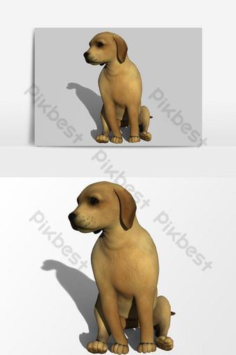 تقديم 3d الكلب الصغير الجرو ناقلات عنصر الرسم صور PNG قالب PSD