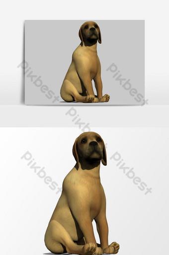 تقديم 3d الكلب جرو ناقلات عنصر الرسم صور PNG قالب PSD