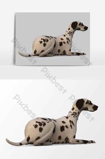 عرض ثلاثي الأبعاد لعنصر رسومي متجه الكلب المنقط صور PNG قالب PSD