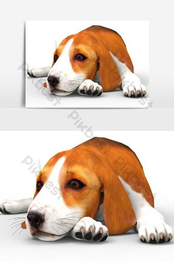 عرض ثلاثي الأبعاد لعنصر رسومي متجه منظور الكلب قالب PSD