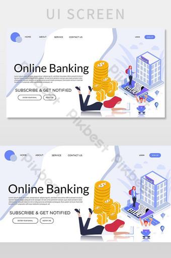 página de inicio de vector de banca en línea para la pantalla de interfaz de usuario de su sitio web UI Modelo AI