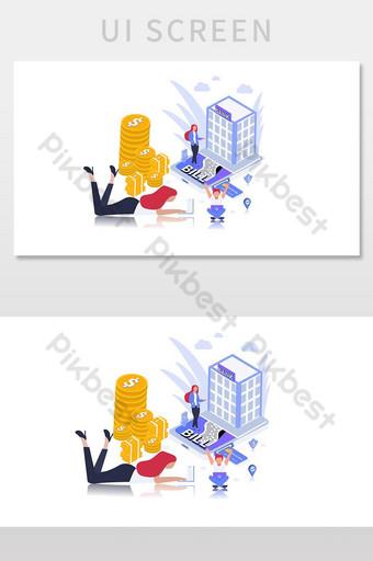 Ilustración de vector de banca en línea para su página web y pantalla de interfaz de usuario de página de destino UI Modelo AI