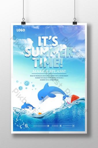 Cartoon fresh sky sea summer promotion poster Template PSD