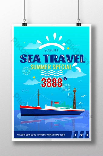 Sea trip summer special poster Template PSD