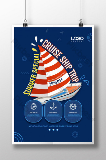 Cruise ship sea travel promotion poster Template PSD