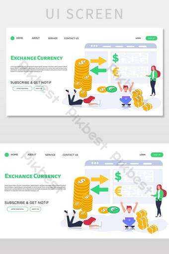 pantalla de interfaz de usuario de la página de destino del vector de cambio de moneda UI Modelo AI