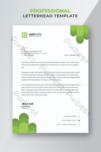 Flyer de papier à en-tête élégant vert affaires Modèle PSD