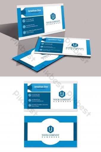 Conception de carte de visite d'entreprise bleue Modèle PSD