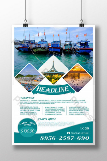 Holiday seaside city travel promotion poster Template PSD