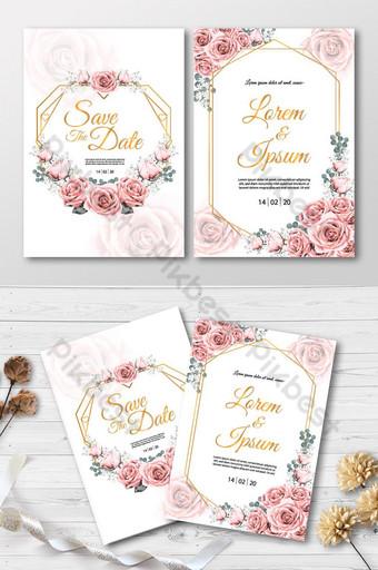 Carte d'invitation de mariage avec des fleurs roses et des cartes d'invitation dessin aquarelle cadre doré Modèle AI