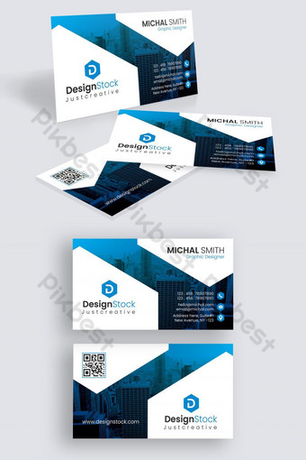 plantilla de tarjeta de visita corporativa creativa abstracta azul Modelo AI
