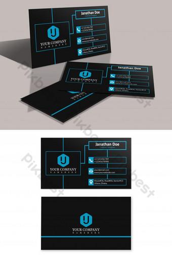 Templat kartu bisnis kreatif dan bersih modern dalam warna biru dan hitam Templat PSD