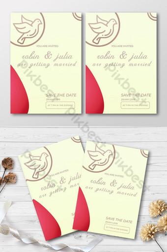cartes d'invitation de mariage unilatérales Modèle PSD
